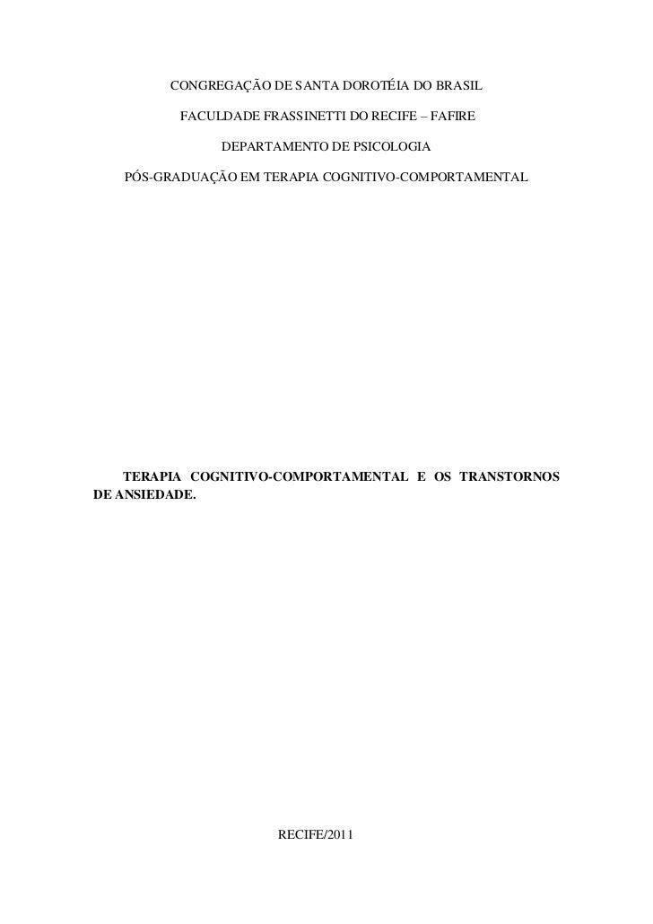 CONGREGAÇÃO DE SANTA DOROTÉIA DO BRASIL         FACULDADE FRASSINETTI DO RECIFE – FAFIRE              DEPARTAMENTO DE PSIC...
