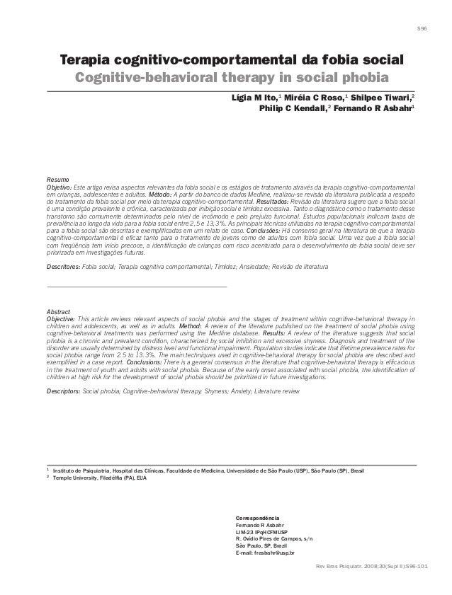 Terapia cognitivo-comportamental da fobia social Cognitive-behavioral therapy in social phobia Resumo Objetivo: Este artig...
