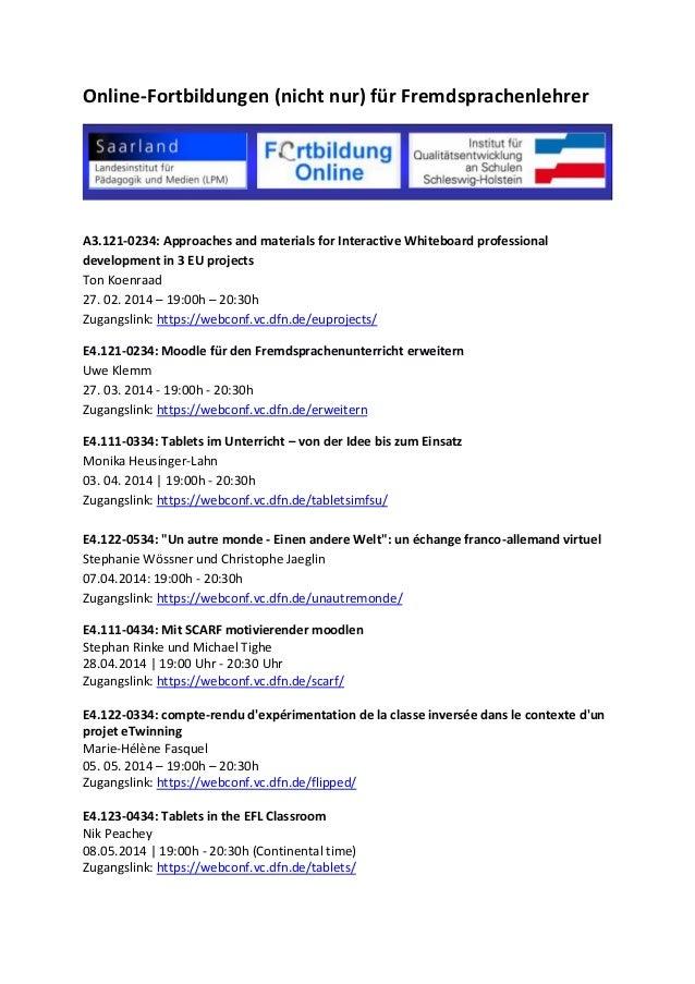Online-Fortbildungen (nicht nur) für Fremdsprachenlehrer A3.121-0234: Approaches and materials for Interactive Whiteboard ...