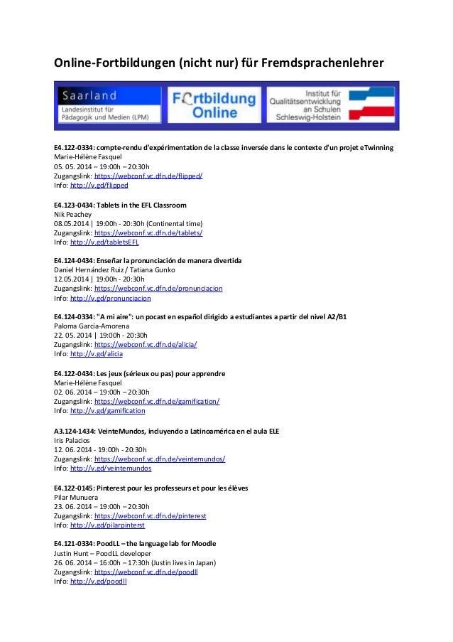Online-Fortbildungen (nicht nur) für Fremdsprachenlehrer E4.122-0334: compte-rendu d'expérimentation de la classe inversée...