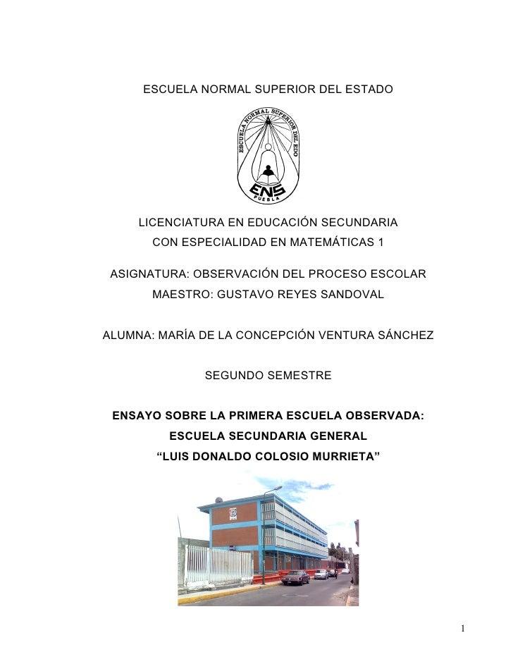 ESCUELA NORMAL SUPERIOR DEL ESTADO         LICENCIATURA EN EDUCACIÓN SECUNDARIA       CON ESPECIALIDAD EN MATEMÁTICAS 1   ...
