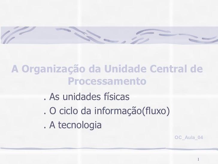 A Organização da Unidade Central de Processamento . As unidades físicas . O ciclo da informação(fluxo) . A tecnologia OC_A...