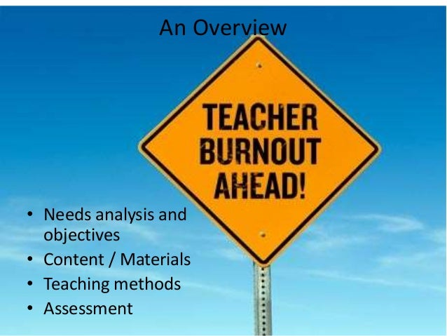 An Overview • Needs analysis and objectives • Content / Materials • Teaching methods • Assessment