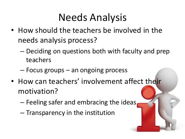 Needs Analysis • How should the teachers be involved in the needs analysis process? – Deciding on questions both with facu...