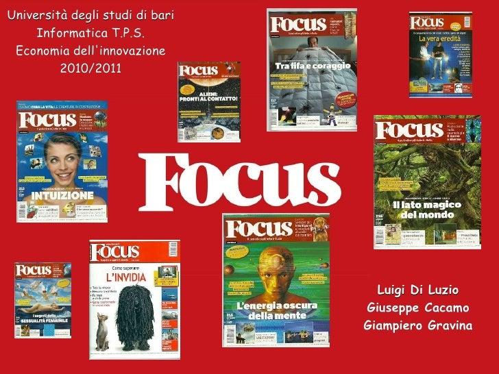 Università degli studi di bari Informatica T.P.S. Economia dell'innovazione 2010/2011 Luigi Di Luzio Giuseppe Cacamo Giamp...