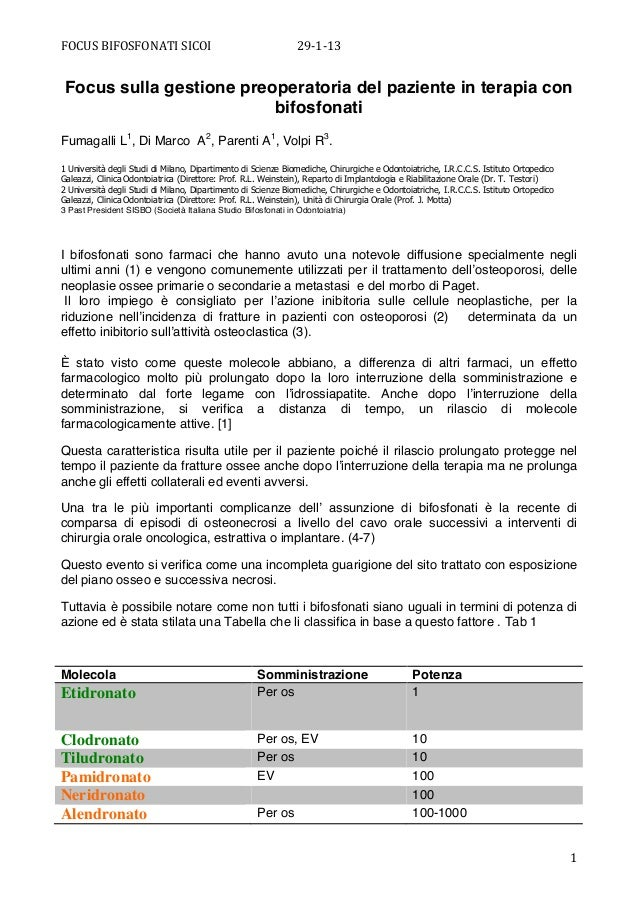 FOCUS BIFOSFONATI SICOI                               29-‐1-‐13        Focus sulla gestione preoperatoria del pa...