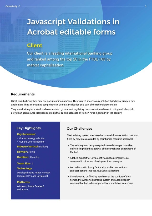 JavascriptValidationsin Acrobateditableforms Client Ourclientisaleadinginternationalbankinggroup andrankedamongthetop20int...