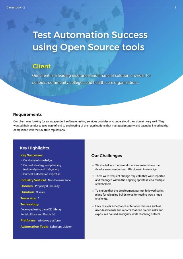 TestAutomationSuccess usingOpenSourcetools Client Ourclientisaleadinginsuranceandfinancialsolutionproviderfor schools,comm...