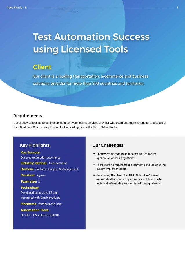 TestAutomationSuccess usingLicensedTools Client Ourclientisaleadingtransportation,e-commerceandbusiness solutionsproviderf...