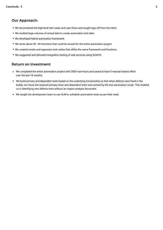 Success in Test Automation of Customer Care Web Application - Case Study 3 Slide 2