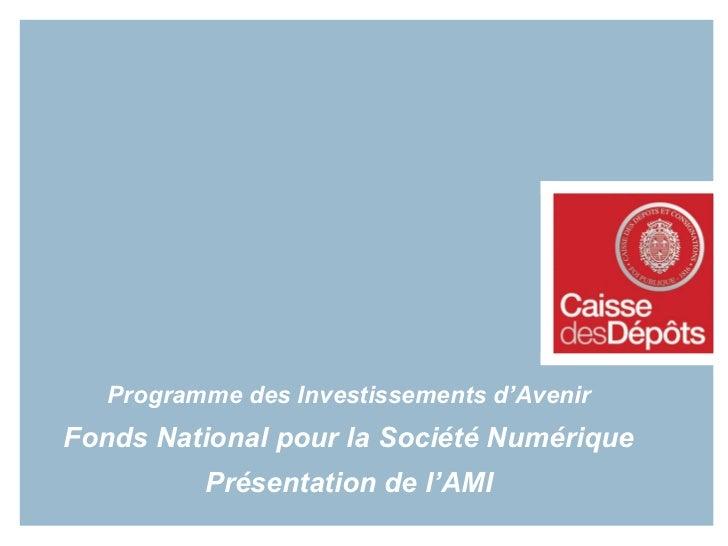 Programme des Investissements d'Avenir Fonds National pour la Société Numérique Présentation de l'AMI