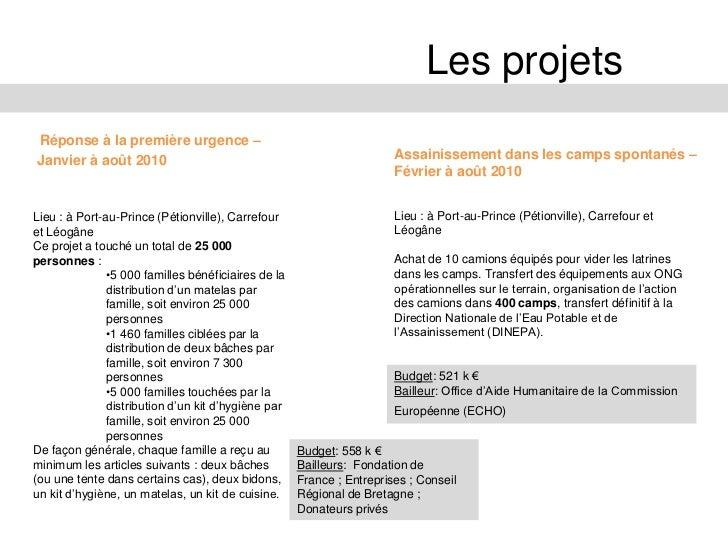 Les projetsAbris transitionnels –                                    Kits de renforcements des abris/maisons -Mai à décemb...