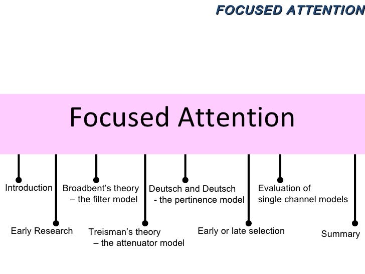 Focused Attention Introduction Early Research Broadbent's theory –  the filter model Treisman's theory  –  the attenuator ...