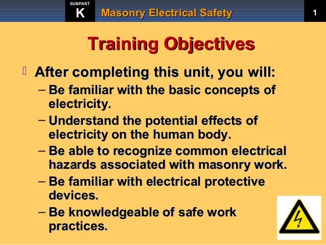 Masonry Electrical Safety Training by Rocky Mountain Masonry Institute Slide 3