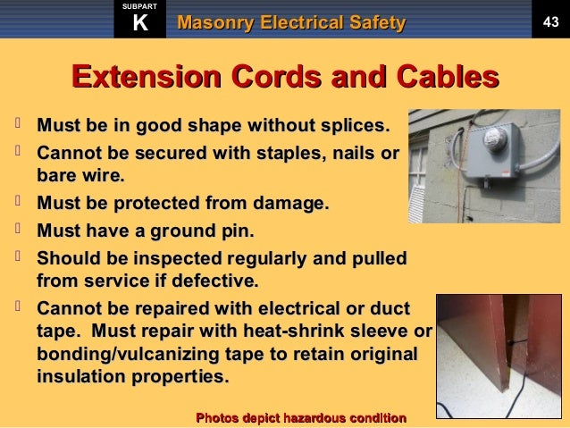 Power Cord Safety : Masonry electrical safety training by rocky mountain