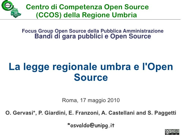 Focus Group Open Source 17.6.2010 Osvaldo Gervasi