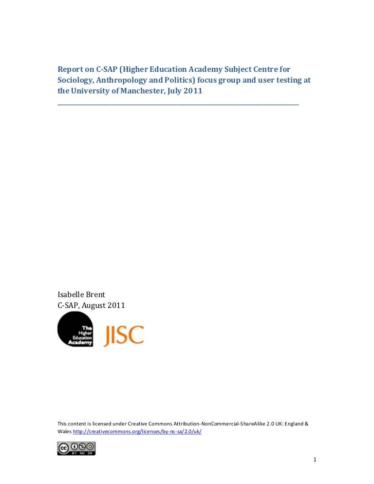 ReportonC‐SAP(HigherEducationAcademySubjectCentreforSociology,AnthropologyandPolitics)focusgroupandusert...