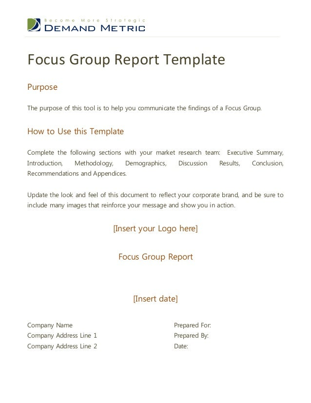 Focus Group Report TemplatePurposeThe Purpose Of This Tool Is To Help You  Communicate The Findings Of Table Of Contents1. Executive Summary 32.  Executive Summary Outline Template