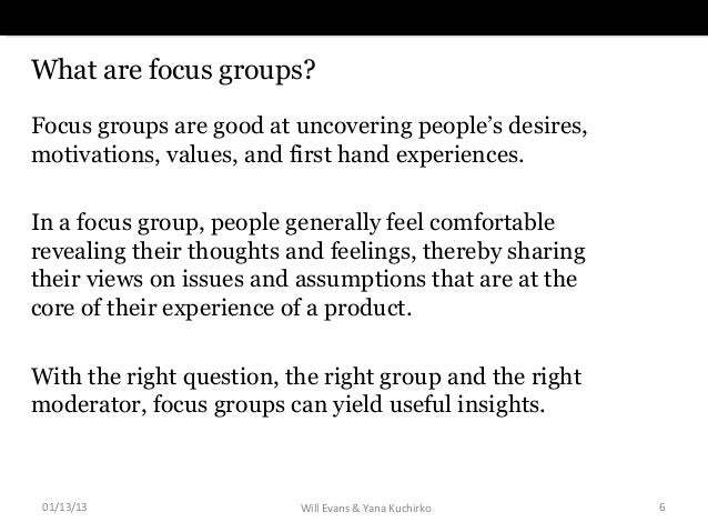 introducing focus groups Focus groups are an ever popular method for collecting qualitative data in the social sciences doing focus groups provides practical advice on planning and.