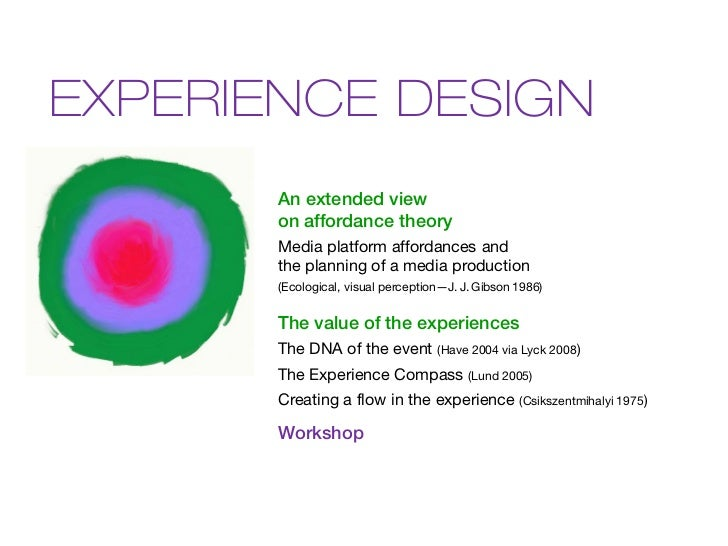 EXPERIENCE DESIGN       An extended view       on affordance theory       Media platform affordances and       the plannin...