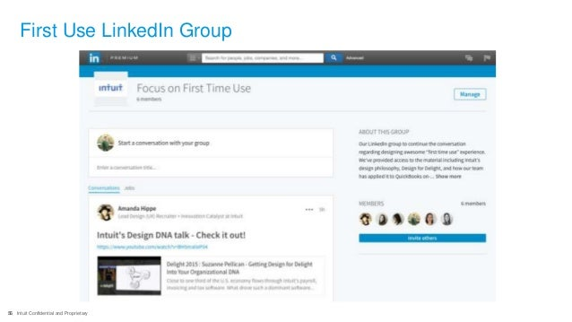56 Intuit Confidential and Proprietary First Use LinkedIn Group