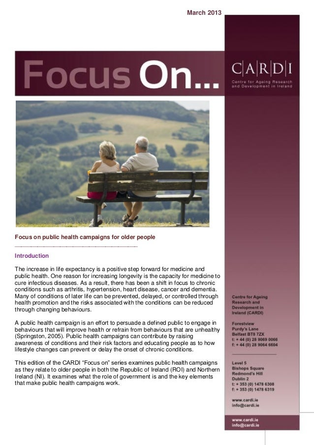 Ageing And Public Health Campaigns March 2013