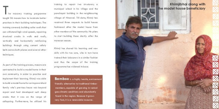 training to repair two structures; a                 Khimjibhai along withT    he masonry training programmetaught 36 maso...
