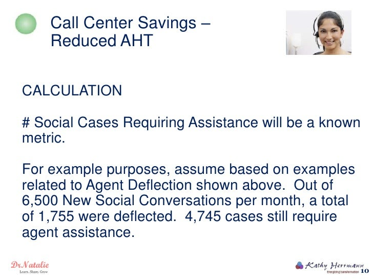 Call Center Savings –    Reduced AHTCALCULATION# Social Cases Requiring Assistance will be a knownmetric.For example purpo...