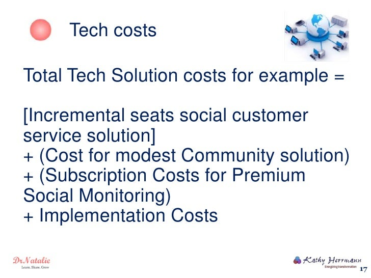 Tech costsTotal Tech Solution costs for example =[Incremental seats social customerservice solution]+ (Cost for modest Com...