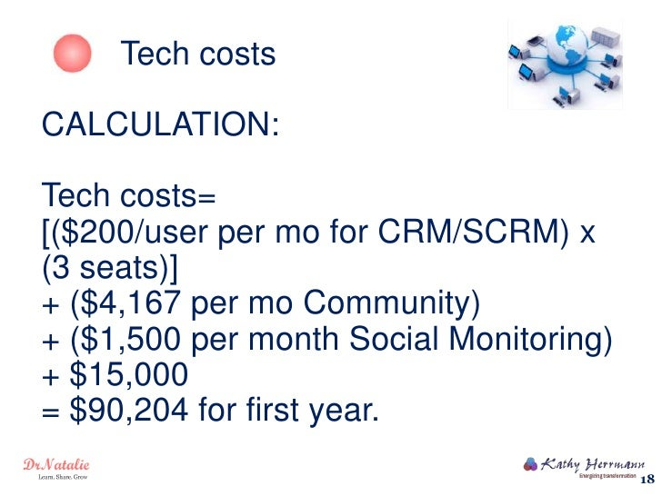 Tech costsCALCULATION:Tech costs=[($200/user per mo for CRM/SCRM) x(3 seats)]+ ($4,167 per mo Community)+ ($1,500 per mont...