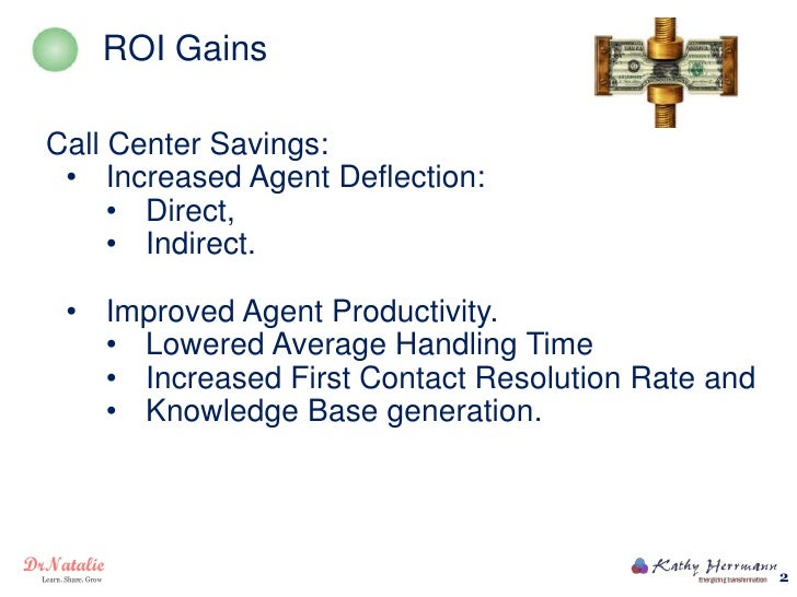 ROI GainsCall Center Savings: • Increased Agent Deflection:     • Direct,     • Indirect. • Improved Agent Productivity.  ...