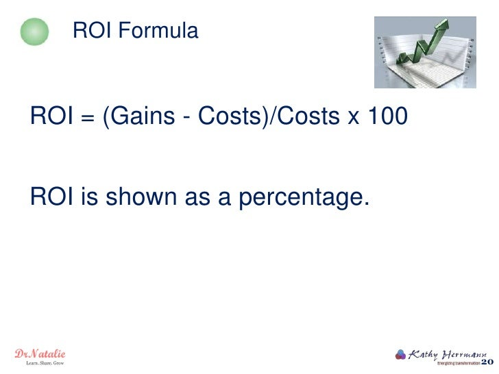 ROI FormulaROI = (Gains - Costs)/Costs x 100ROI is shown as a percentage.                                    20