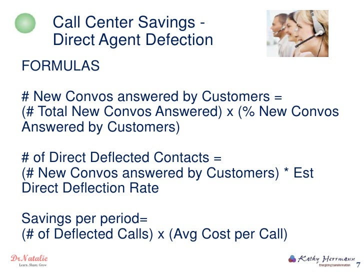 Call Center Savings -     Direct Agent DefectionFORMULAS# New Convos answered by Customers =(# Total New Convos Answered) ...