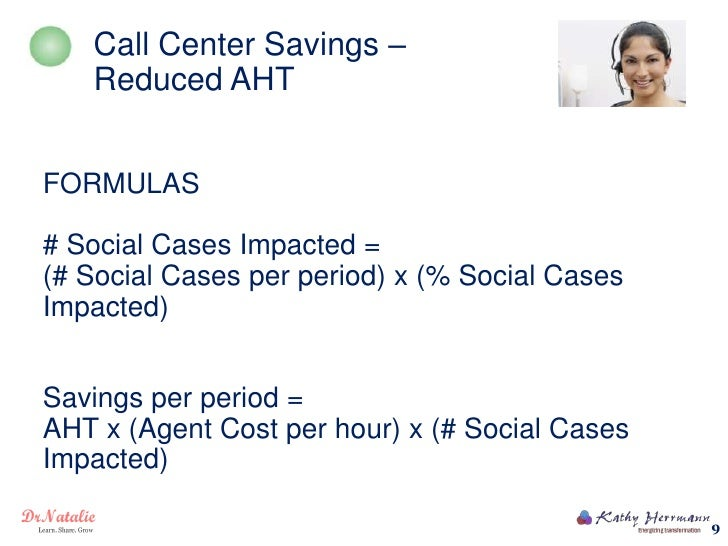Call Center Savings –   Reduced AHTFORMULAS# Social Cases Impacted =(# Social Cases per period) x (% Social CasesImpacted)...