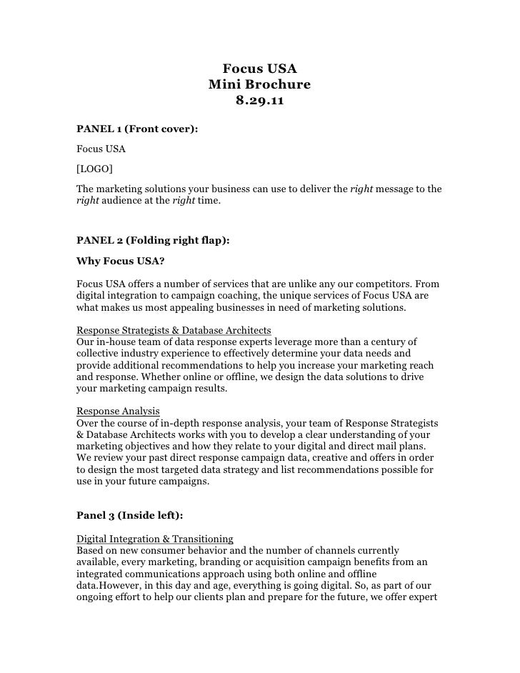 Focus USA<br />Mini Brochure<br />8.29.11<br />PANEL 1 (Front cover):<br />Focus USA<br />[LOGO]<br />The marketing soluti...