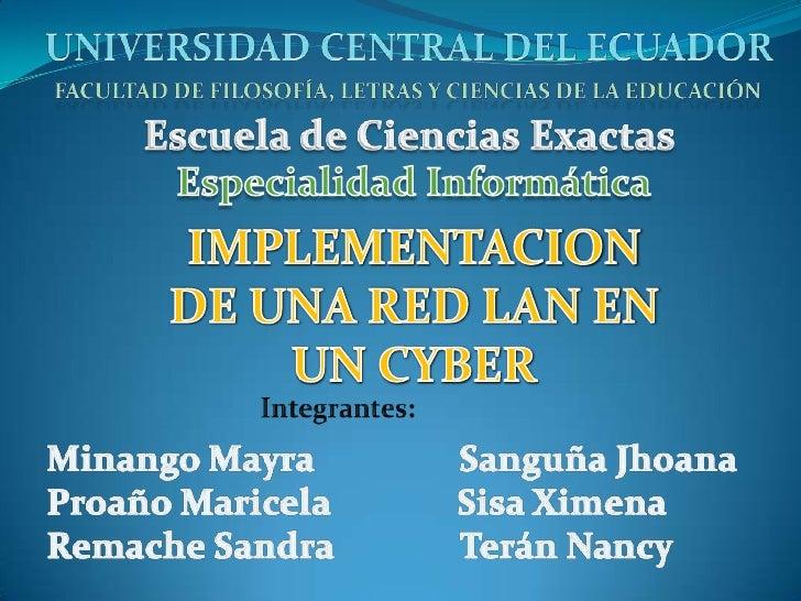 UNIVERSIDAD CENTRAL DEL ECUADOR<br />Facultad de Filosofía, Letras y Ciencias de la Educación<br />Escuela de Ciencias Exa...