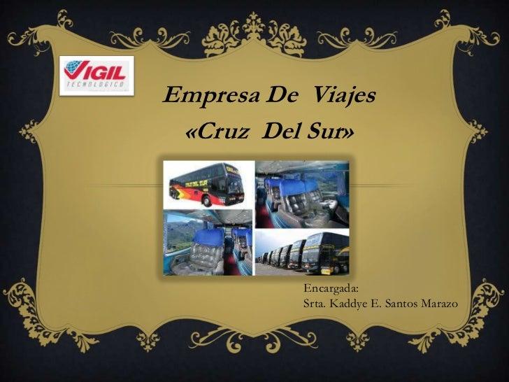 Empresa De Viajes «Cruz Del Sur»           Encargada:           Srta. Kaddye E. Santos Marazo
