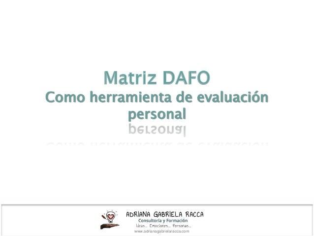Como herramienta de evaluación personal www.adrianagabrielaracca.com