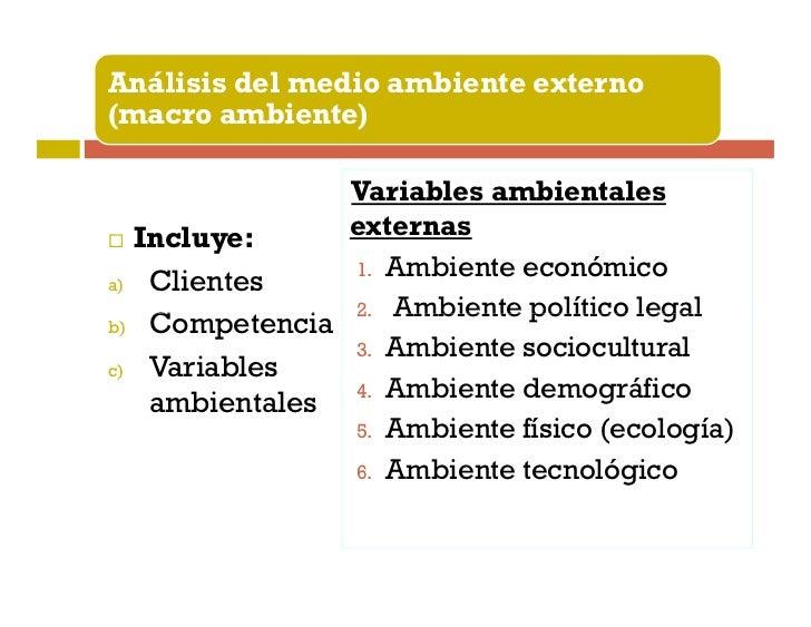 Análisis del medio ambiente externo(macro ambiente)               Variables ambientales  Incluye:     externas            ...