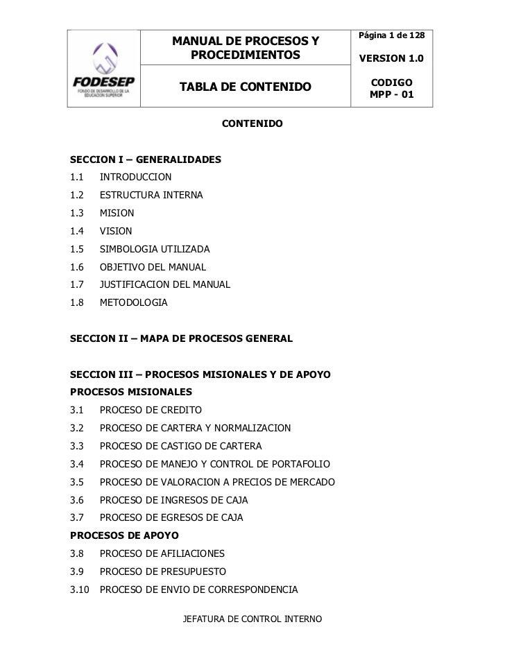 Fodesep manual procesos procedimientos for Manual de operaciones de un restaurante ejemplo