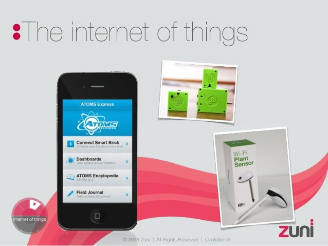 © 2013 Zuni   All Rights Reserved   Confidential The internet of things internet of things