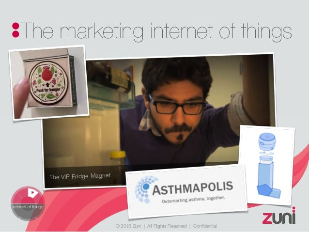 © 2013 Zuni   All Rights Reserved   Confidential The marketing internet of things internet of things The VIP Fridge Magnet