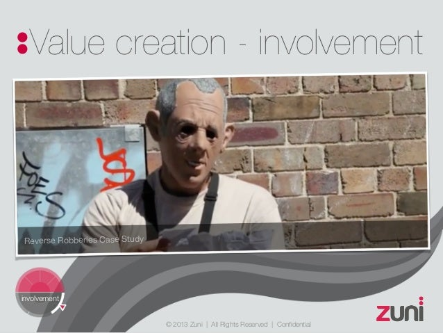 © 2013 Zuni   All Rights Reserved   Confidential Value creation - involvement involvement Reverse Robberies Case Study