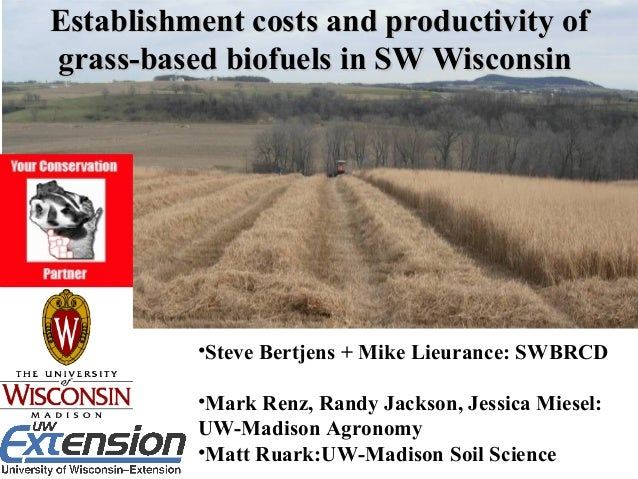 Establishment costs and productivity ofEstablishment costs and productivity of grass-based biofuels in SW Wisconsingrass-b...