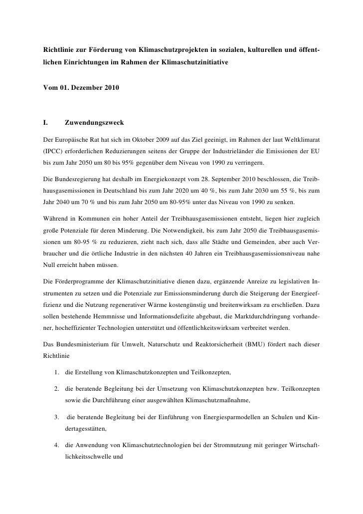 Richtlinie zur Förderung von Klimaschutzprojekten in sozialen, kulturellen und öffentlichen Einrichtungen im Rahmen der K...