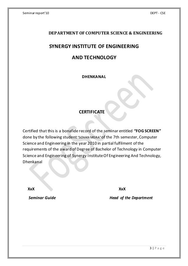Seminarreport'10 DEPT - CSE 3 | P a g e DEPARTMENT OF COMPUTER SCIENCE & ENGINEERING SYNERGY INSTITUTE OF ENGINEERING AND ...