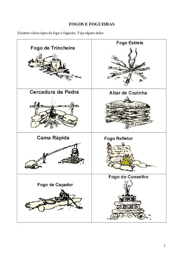 FOGOS E FOGUEIRAS Existem vários tipos de fogo e fogueira. Veja alguns deles: 1