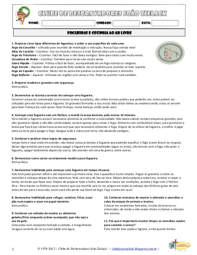 © 1978-2012 :: Clube de Desbravadores João Zielack - :: clubejoaozielack.blogspost.com.br :: Fogueiras e cozinha ao ar liv...