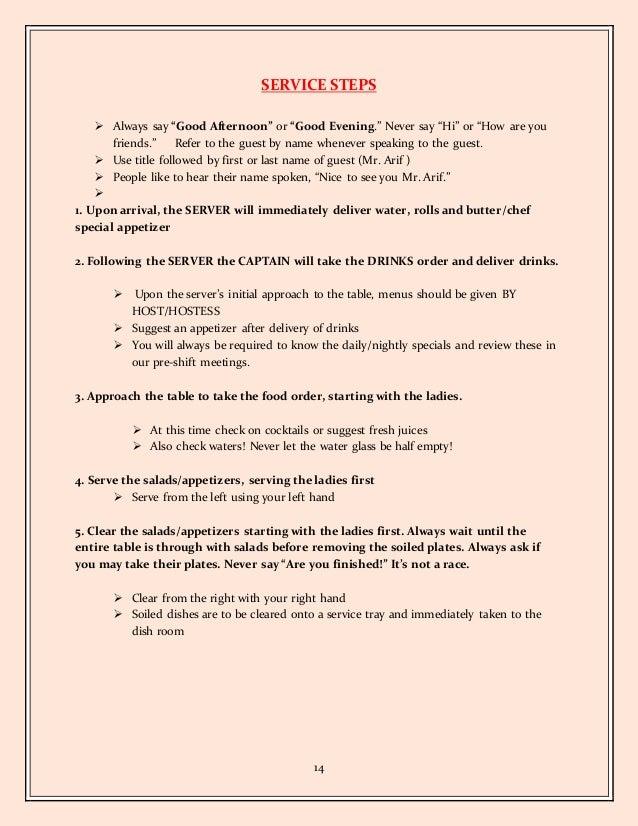 14 - Table Busser Job Description