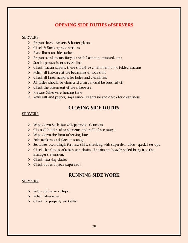 olive garden server job description resume